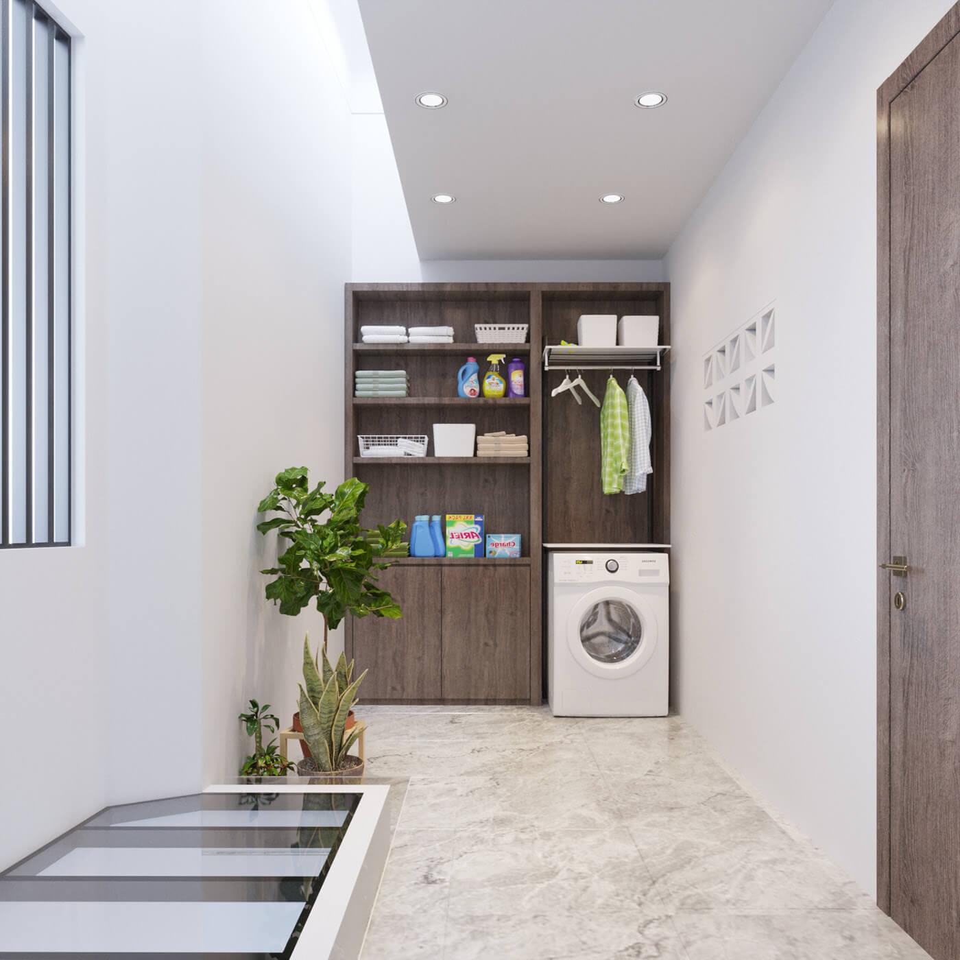 nhà phố lệch tầng 5x15m phòng giặt