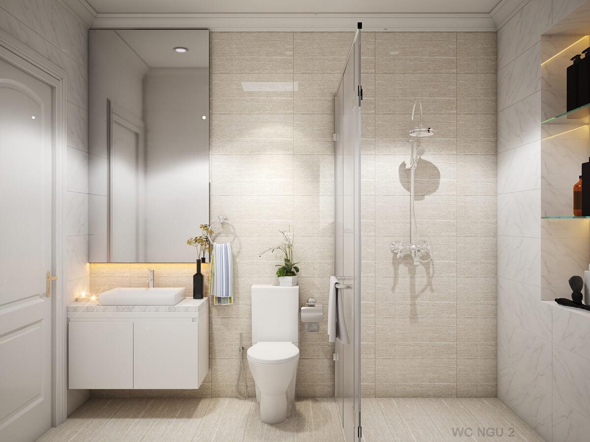 nhà phố tân cổ điển 6x12m phòng tắm