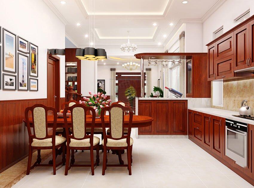 phòng bếp bằng gỗ đẹp