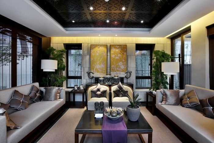 phòng khách phong cách Châu Á