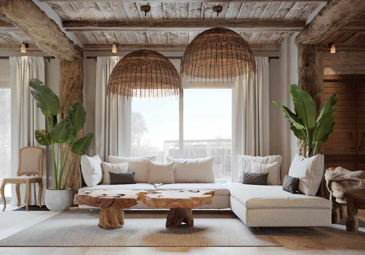 Mẫu phòng khách hiện đại này là sự kết hợp hoàn hảo giữa hiện đại và các nét cổ điển phá cách tạo nên một không gian ấn tượng. Từ cách thiết kế nối giữa gian bếp nhỏ và khu tiếp khách, cách tận dụng các khối gỗ để tạo điểm nhấn cũng như mang nét cổ điển mềm mại đã giúp căn nhà nổi bật hơn và độc đáo hơn. Loại hình thiết kế này thích hợp dành cho những người yêu thích thiên nhiên, thích sự thông thoáng và cây xanh.