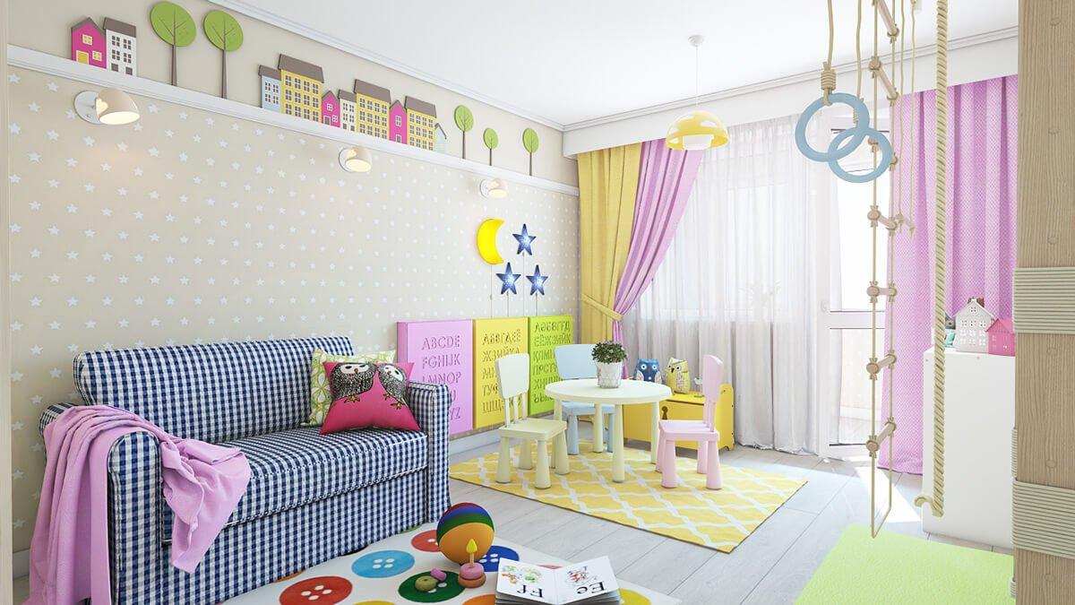 phòng ngủ dành cho trẻ em với nhiều màu sắc