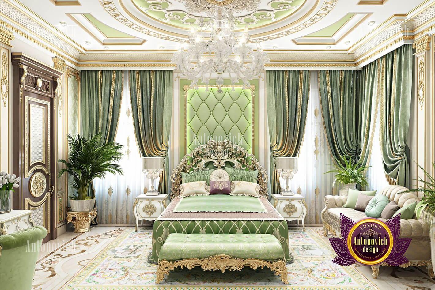 phòng ngủ hoàng gia đẹp màu xanh