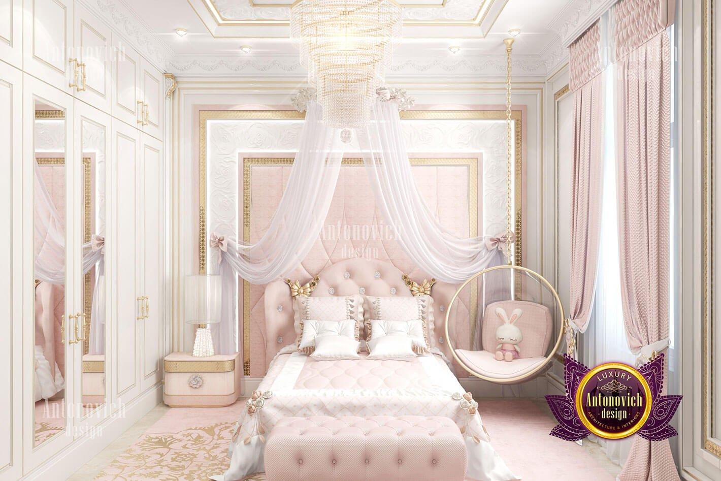phòng ngủ hoàng gia đẹp màu hồng