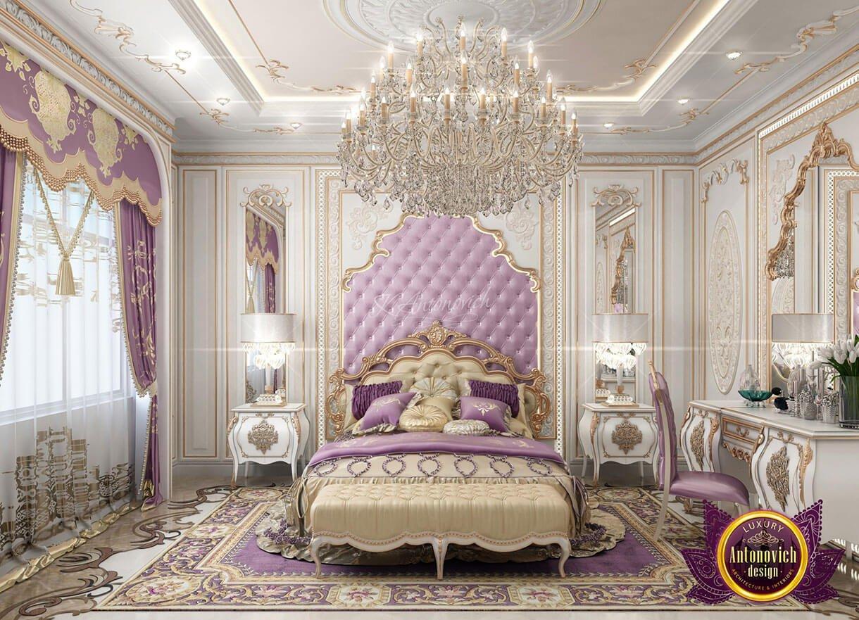 phòng ngủ hoàng gia đẹp màu tím