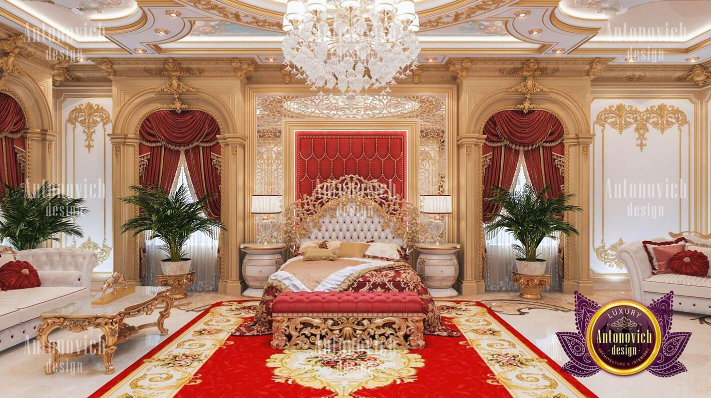 phòng ngủ hoàng gia đẹp màu đỏ