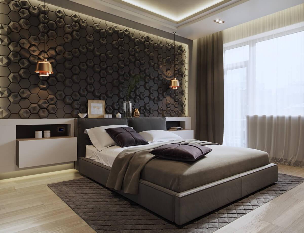 phòng ngủ master hiện đại màu xám