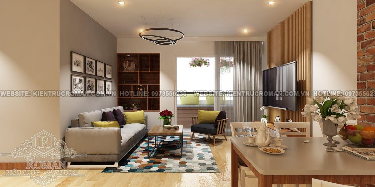 phòng khách thiết kế căn hộ nhỏ đẹp tiện nghi cho vợ chồng trẻ