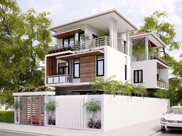 mẫu thiết kế biệt thự 2 tầng 1 tum đẹp được yêu thích 3