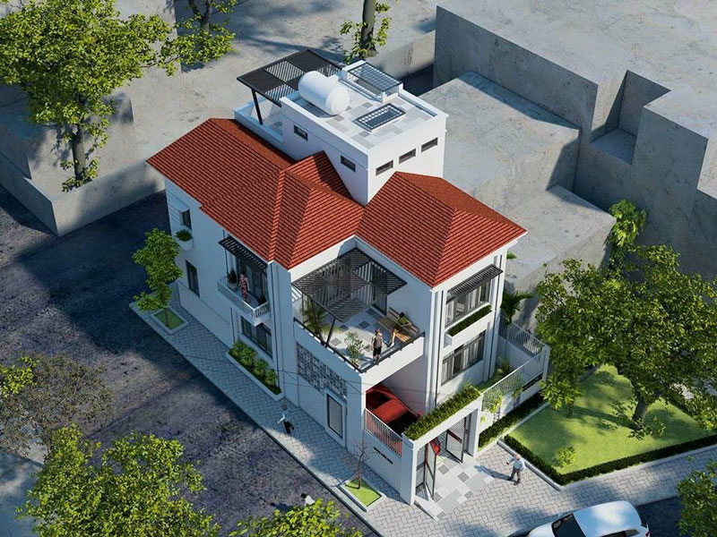 mẫu thiết kế biệt thự 2 tầng 1 tum đẹp được yêu thích 7