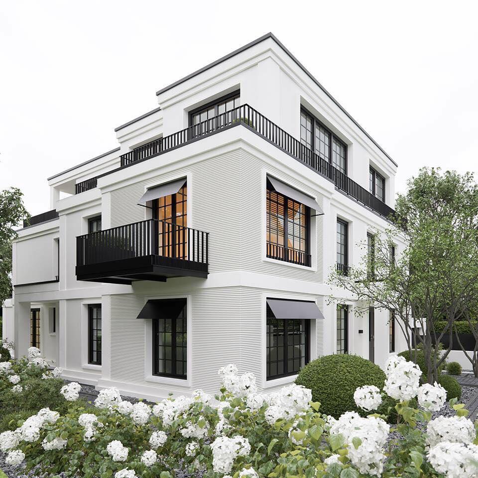 mẫu thiết kế biệt thự 2 tầng 1 tum đẹp được yêu thích 5