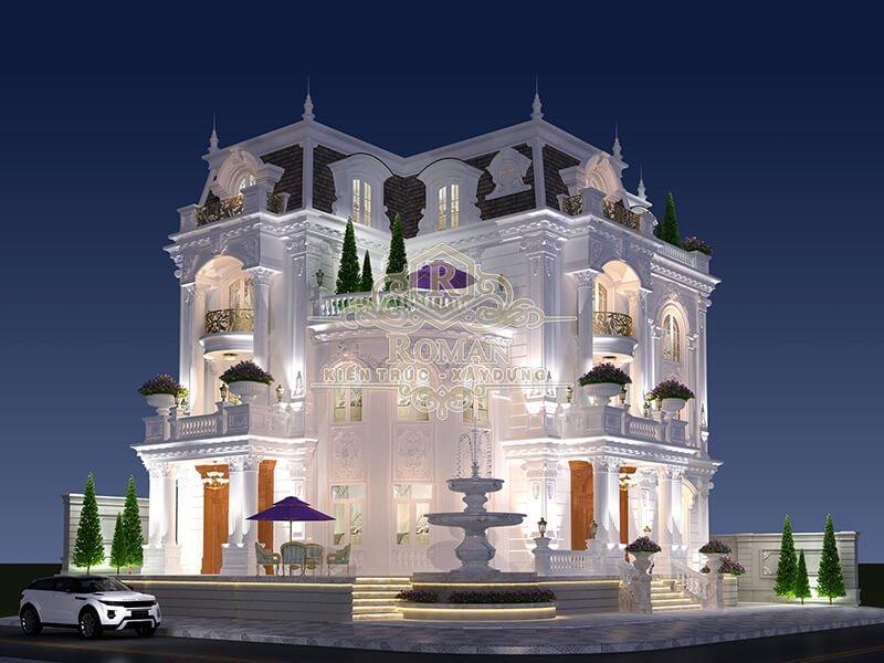 thiết kế biệt thự 3 tầng có tầng hầm phong cách tân cổ điển