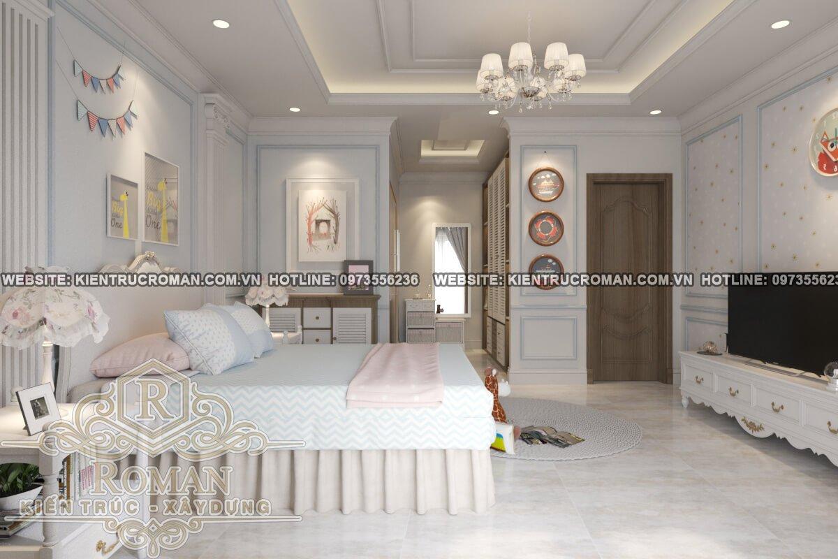 phòng ngủ bé gái lầu 2 thiết kế biệt thự 3 tầng đẹp