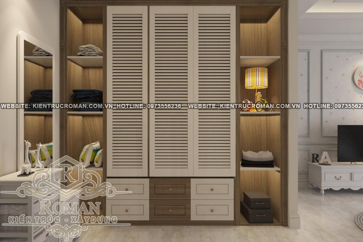 tủ quần áo thiết kế biệt thự 3 tầng đẹp