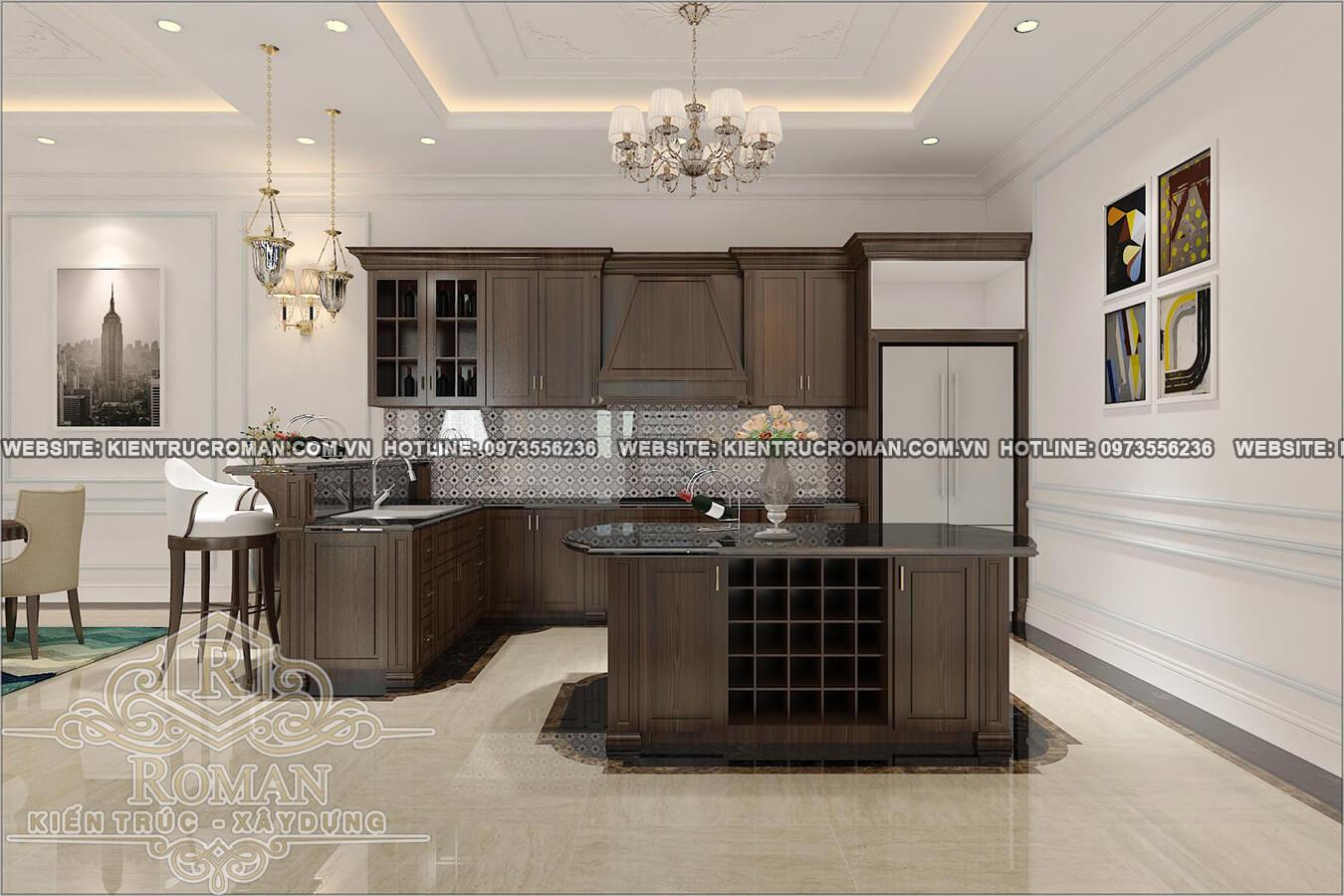 nhà bếp thiết kế biệt thự 3 tầng đẹp