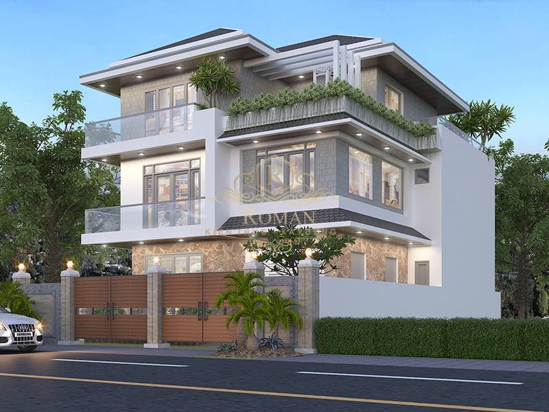 Thiết kế biệt thự 3 tầng mái thái hiện đại sang trọng tại Cần Thơ
