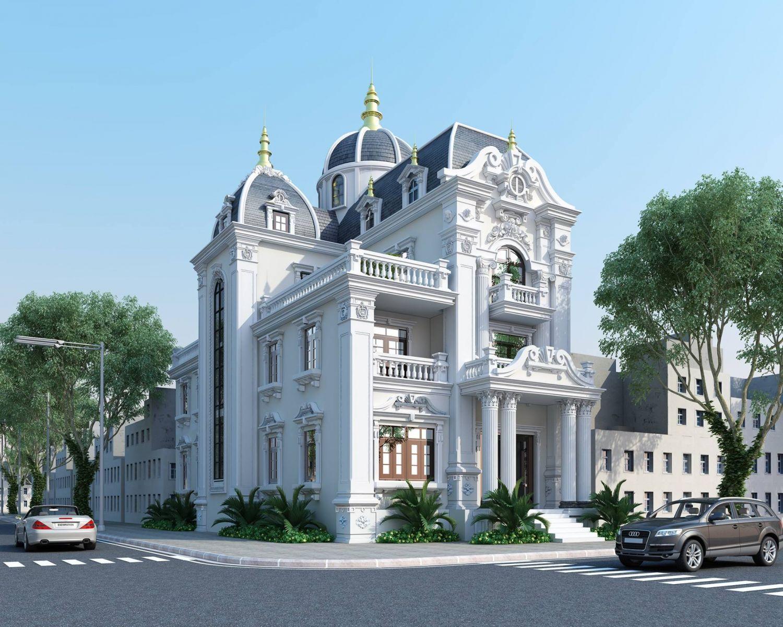 mẫu thiết kế biệt thự mini 3 tầng cổ điển đẹp 1
