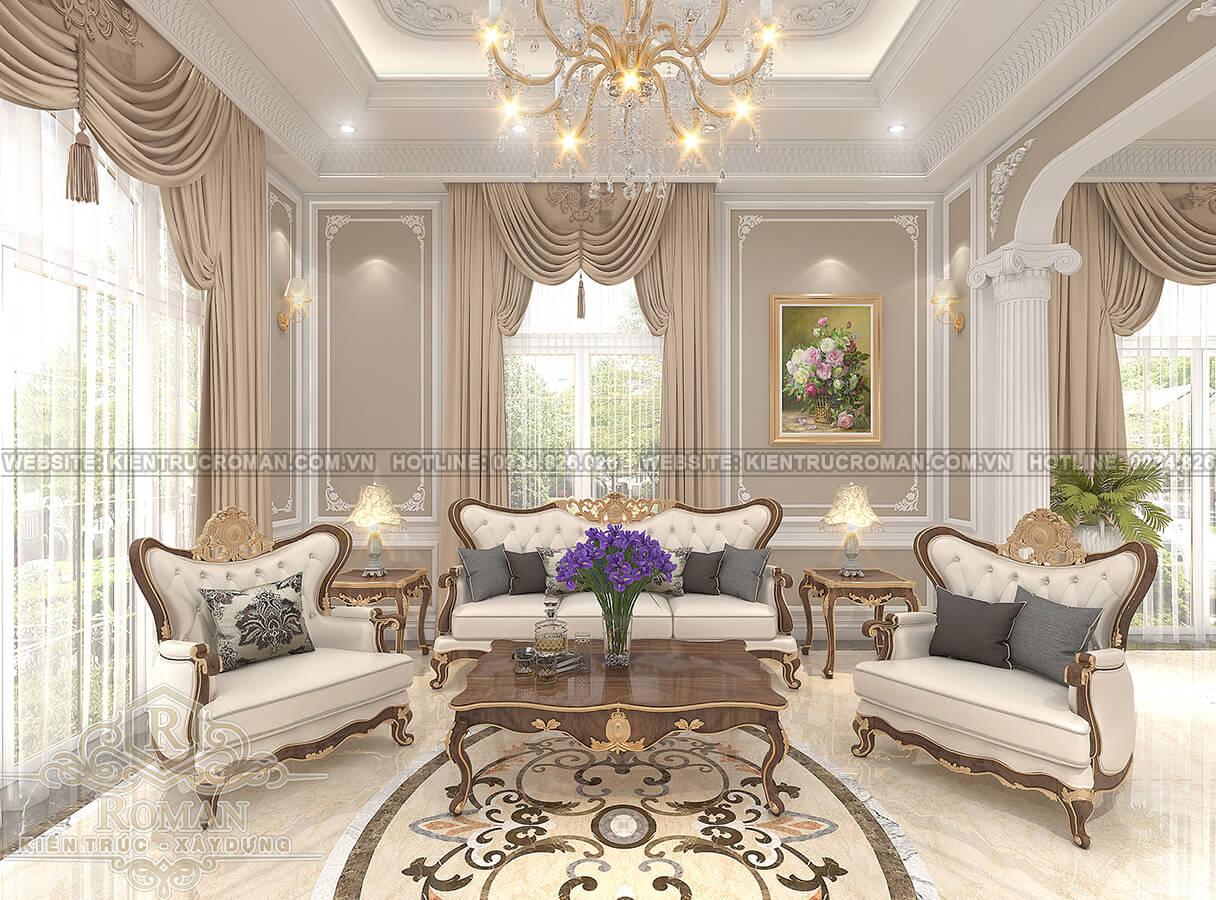 thiết kế biệt thự Châu Âu đẹp phòng khách