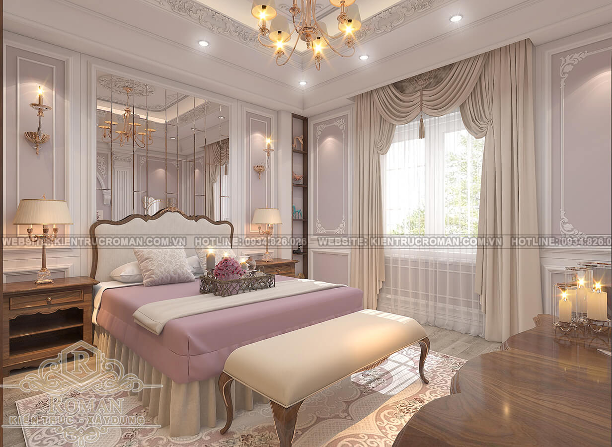 thiết kế biệt thự Châu Âu đẹp phòng ngủ master