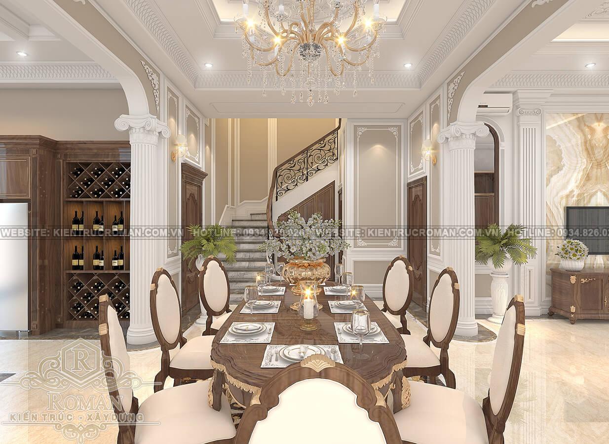 thiết kế biệt thự Châu Âu đẹp phòng ăn