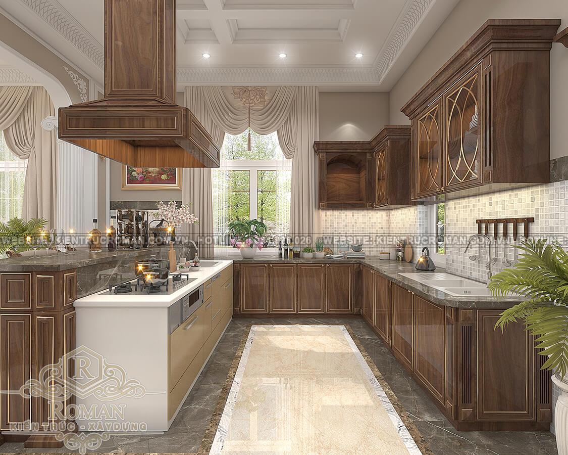thiết kế biệt thự Châu Âu đẹp phòng bếp