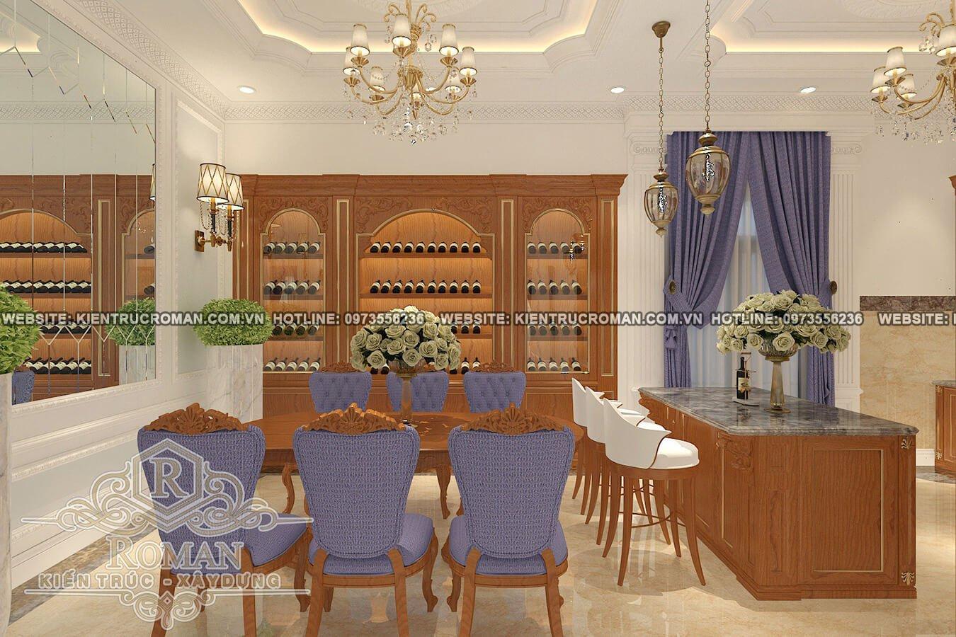 phòng ăn biệt thự cổ điển châu âu
