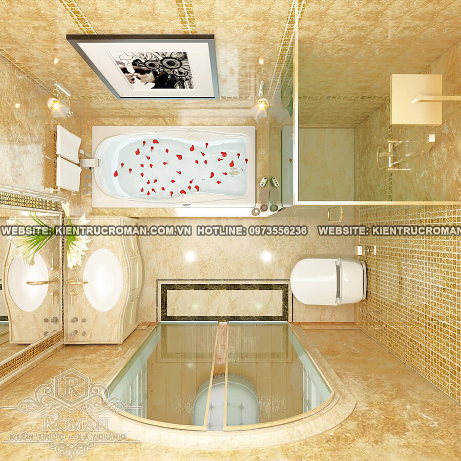 phòng tắm biệt thự cổ điển châu âu
