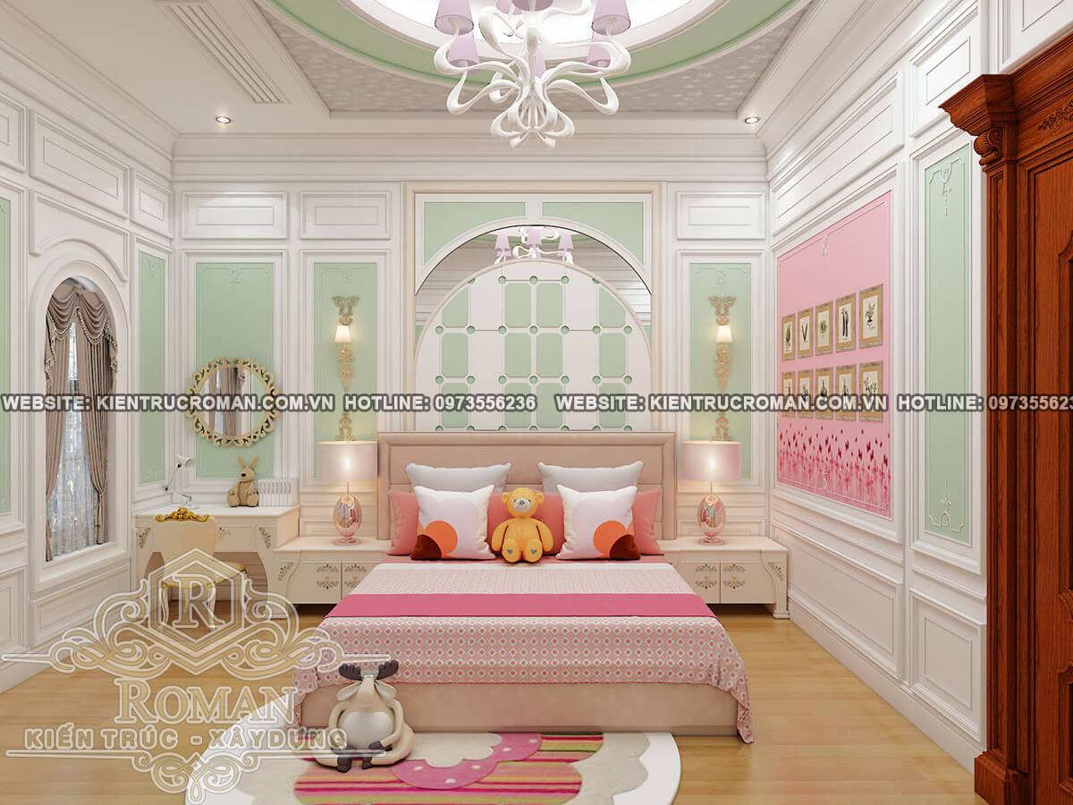 phòng ngủ lầu 2 biệt thự cổ điển châu âu