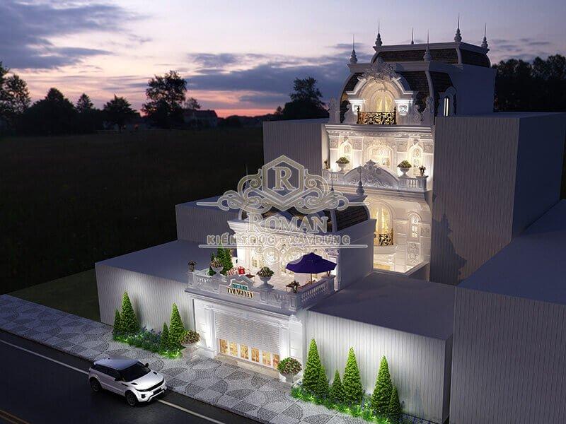 thiết kế biệt thự cổ điển châu âu kết hợp với kinh doanh