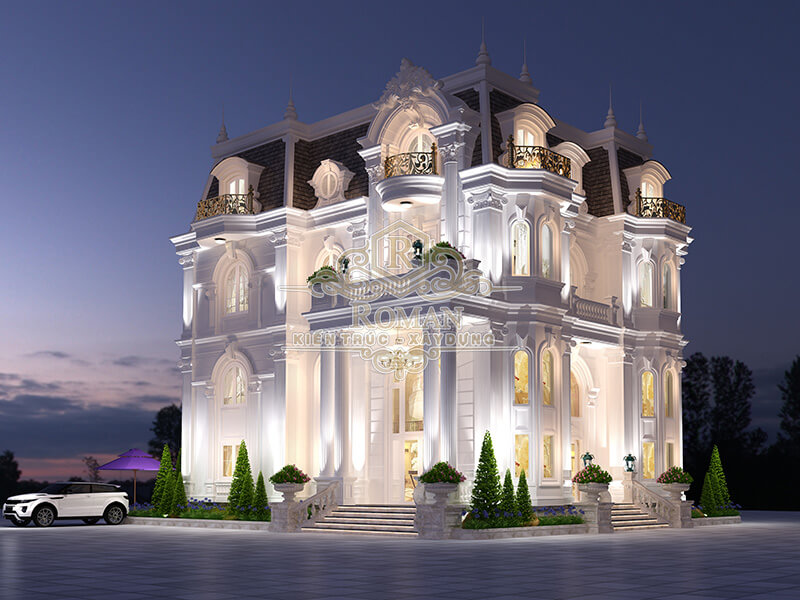 thiết kế biệt thự cổ điển kiểu pháp