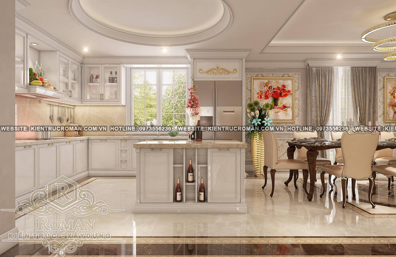 nhà bếp thiết kế biệt thự pháp