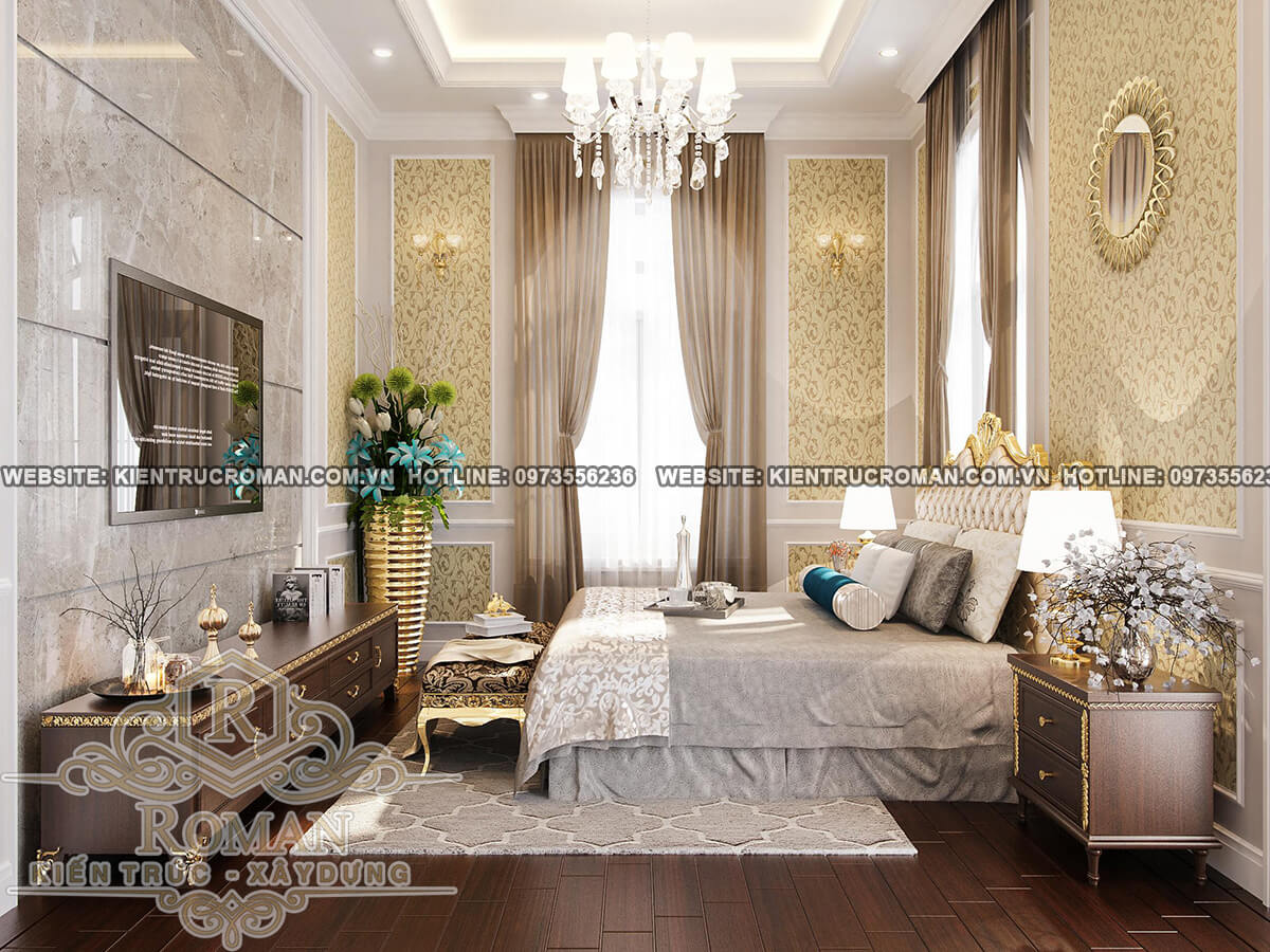 phòng ngủ tầng lửng thiết kế biệt thự pháp