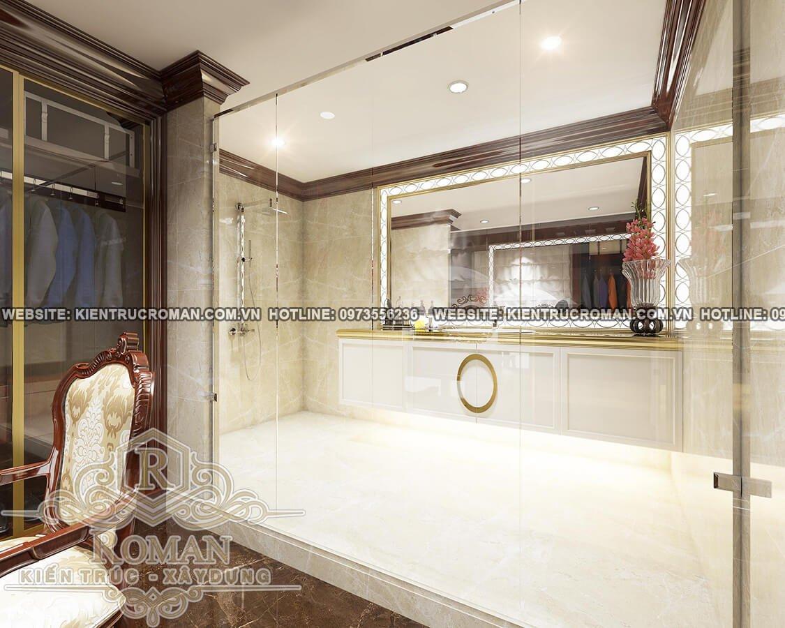 phòng tắm lầu 1 thiết kế biệt thự pháp