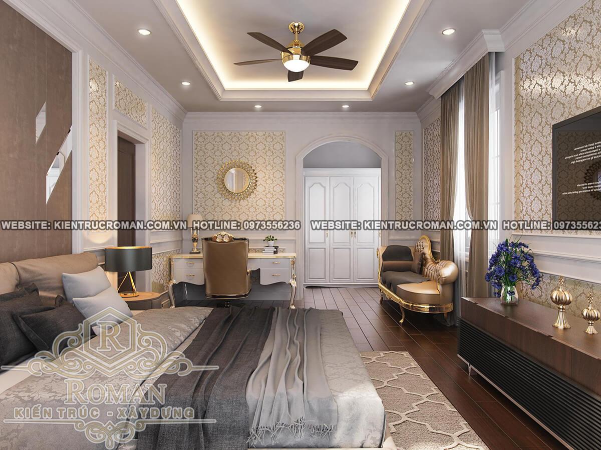 phòng ngủ lầu áp mái thiết kế biệt thự pháp