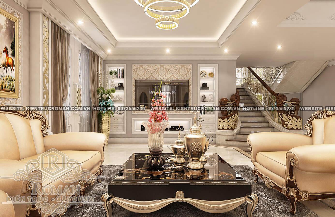 phòng khách thiết kế biệt thự pháp đẹp