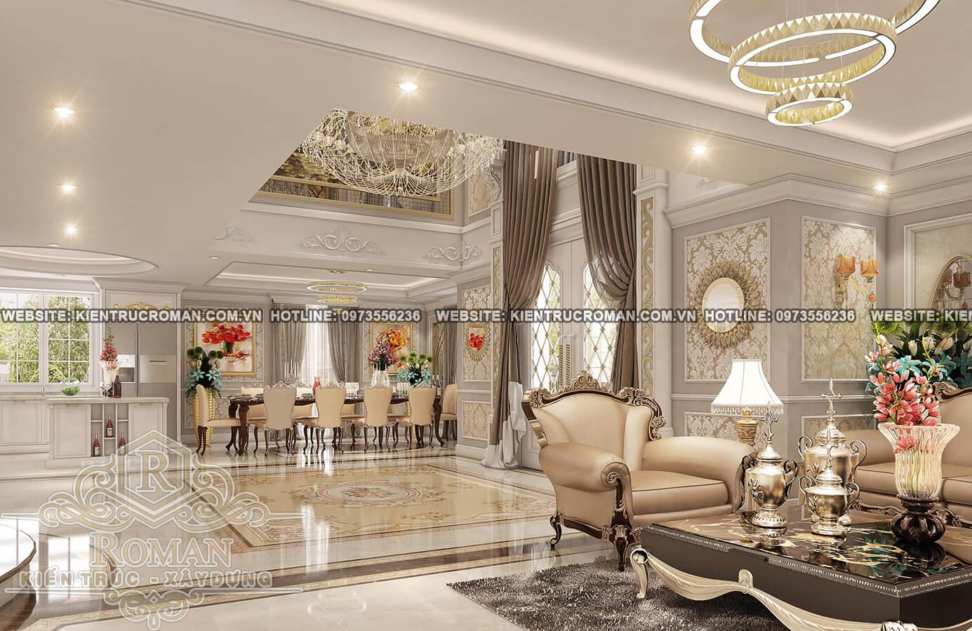 phòng khách và phòng ăn thiết kế biệt thự pháp đẹp