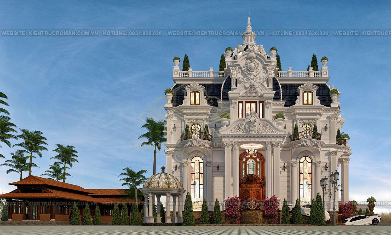 thiết kế biệt thự lâu đài pháp phối cảnh