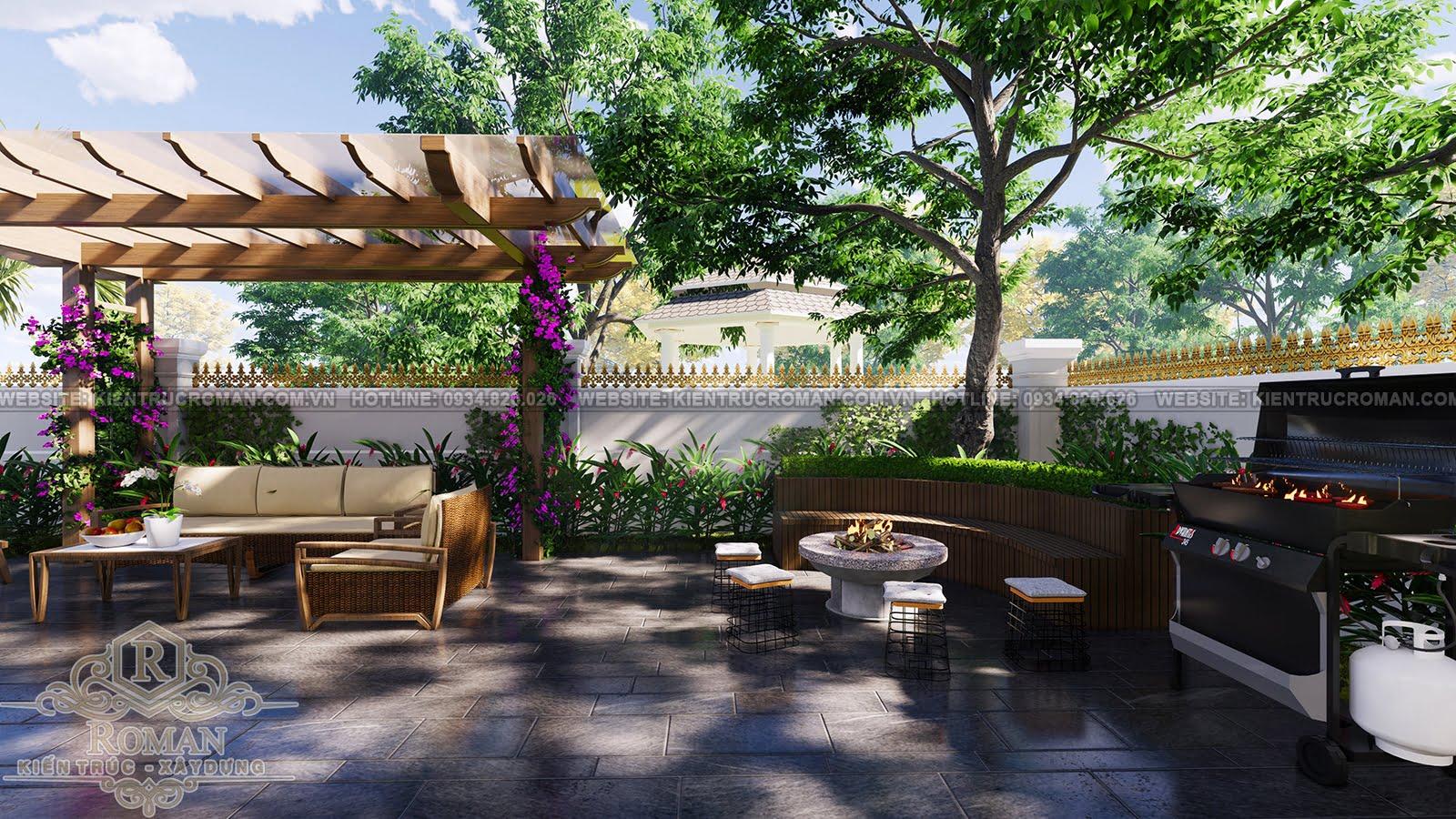 thiết kế biệt thự mặt tiền 15m sân vườn