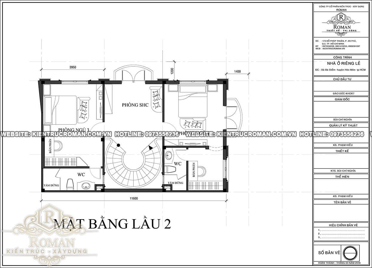 mặt bằng lầu 2 thiết kế biệt thự nhỏ tân cổ điển sang trọng 3