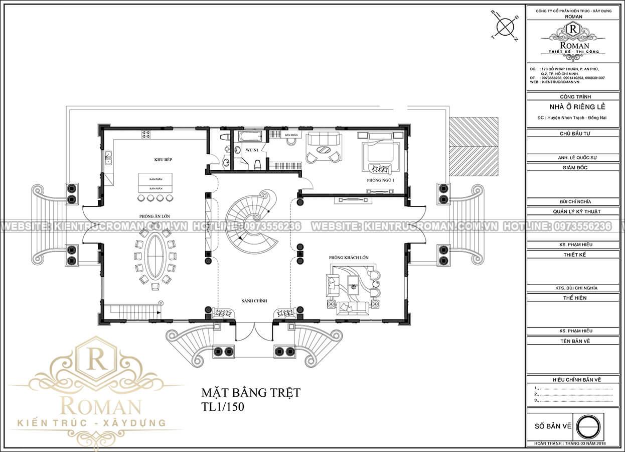mặt bằng tầng trệt thiết kế biệt thự phong cách cổ điển châu âu tại quận 2