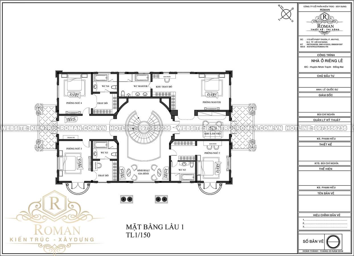 mặt bằng lầu 1 thiết kế biệt thự phong cách cổ điển châu âu tại quận 2