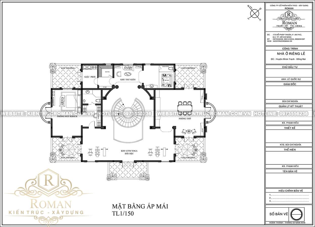 mặt bằng áp mái tầng hầm thiết kế biệt thự phong cách cổ điển châu âu tại quận 2