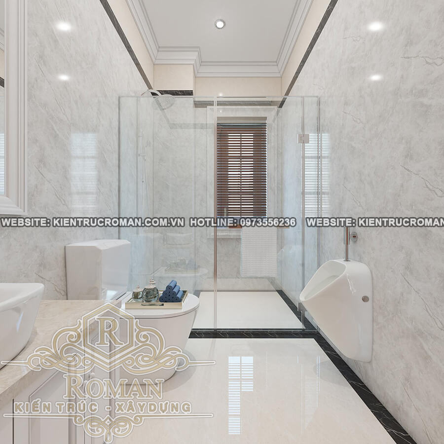 phòng tắm lầu 1 thiết kế biệt thự vườn 2 tầng