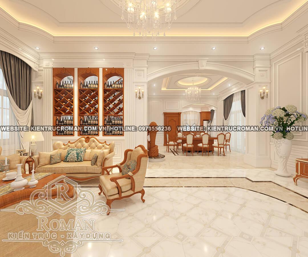 phòng khách thiết kế biệt thự vườn 2 tầng