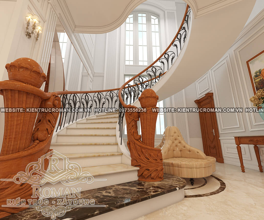 cầu thang thiết kế biệt thự vườn 2 tầng