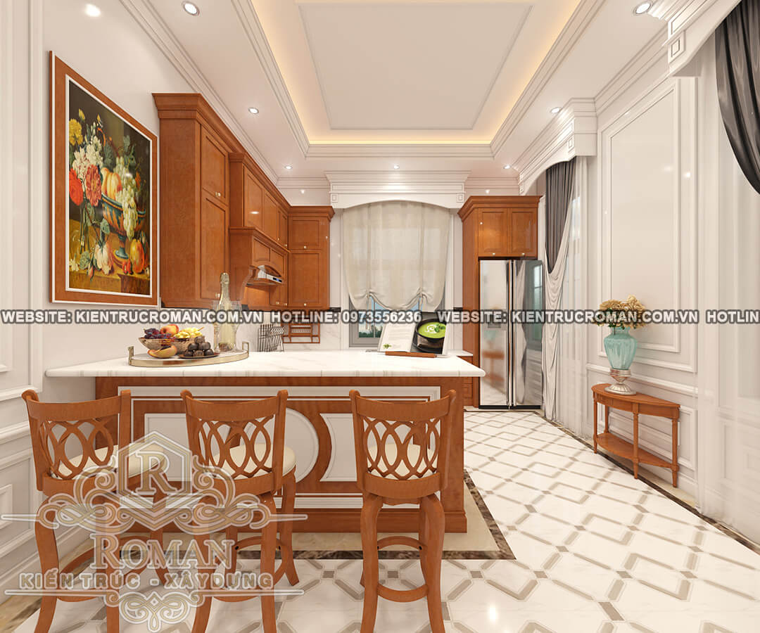 nhà bếp thiết kế biệt thự vườn 2 tầng