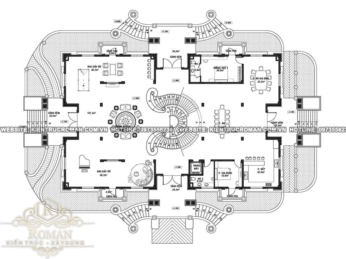 tầng trệt thiết kế biệt thự vườn