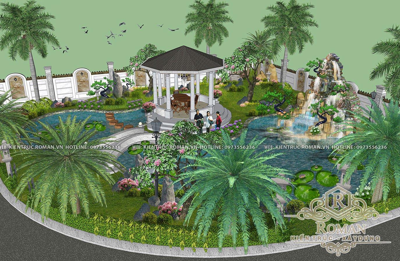 sân vườn thiết kế biệt thự vườn