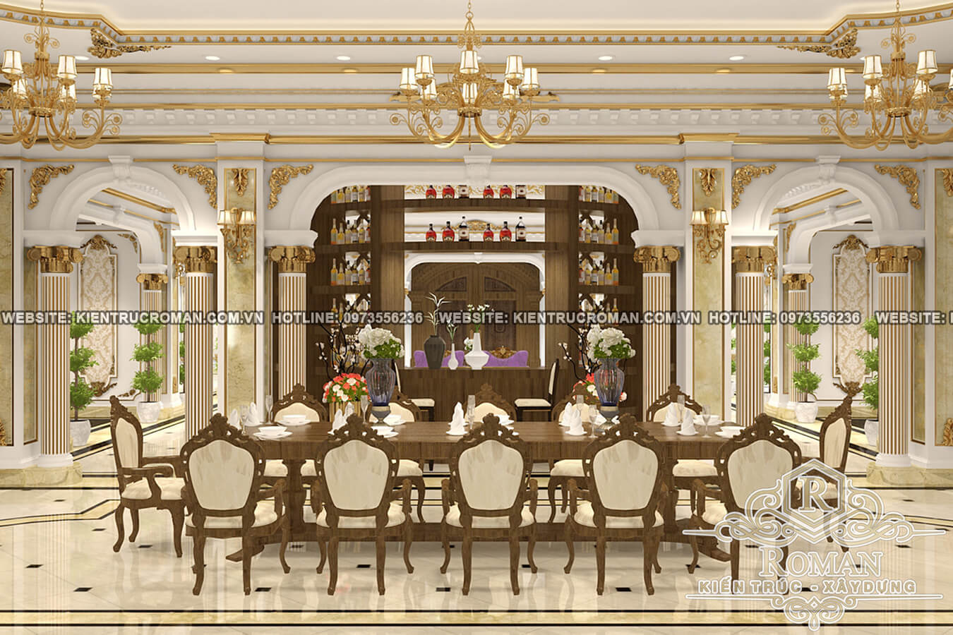 phòng ăn khách thiết kế biệt thự sân vườn