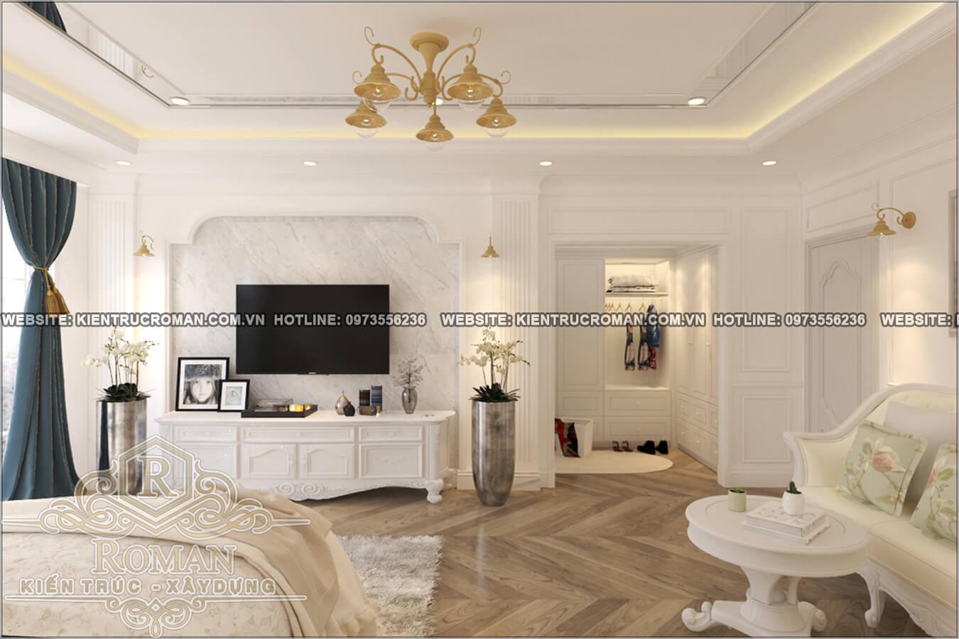 phòng ngủ master thiết kế cải tạo biệt thự cổ điển châu âu